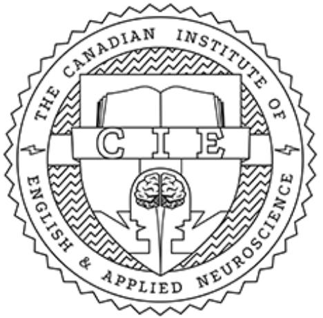 Zertifizierungsstempel CIE - Canadian Institute of Englisch and Applied Neuroscience für ausgebildete Sprachlehrer